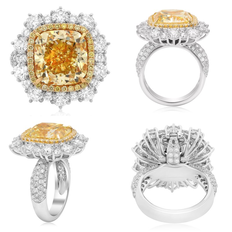 Roman & Jules Cushion Cut Yellow Diamond Set