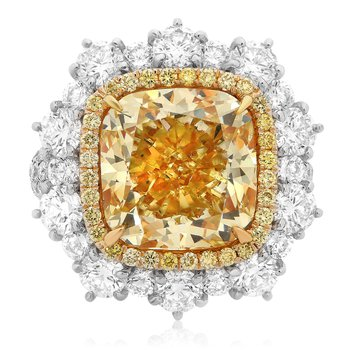 Cushion Cut Yellow Diamond Set