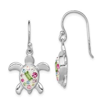 Sterling Silver Rhodium Plated Stellux Crystal Turtle Dangle Earrings