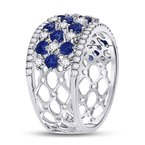 Kingdom Treasures 18kt White Gold Womens Round Blue Sapphire Diamond Checkered Band Ring 2.00 Cttw