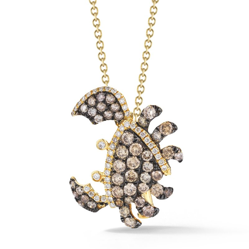 "Shula NY 18K Crab and Diamond Necklace 3/4"" diameter"