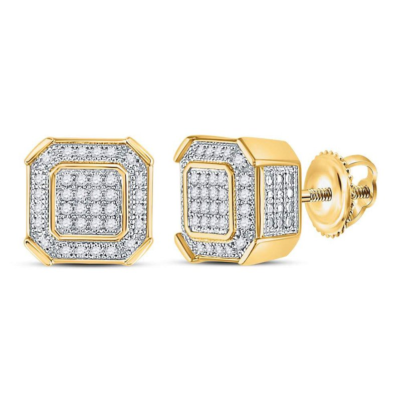 Gold N Diamonds Inc Atlanta 10kt Yellow Gold Mens Round Diamond Square Cluster Stud Earrings 1 5 Cttw Freeman And Foote Jewelers