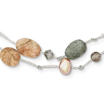 Labradorite/Red Moonstone/FW Cultured Pearl/Crystal Necklace