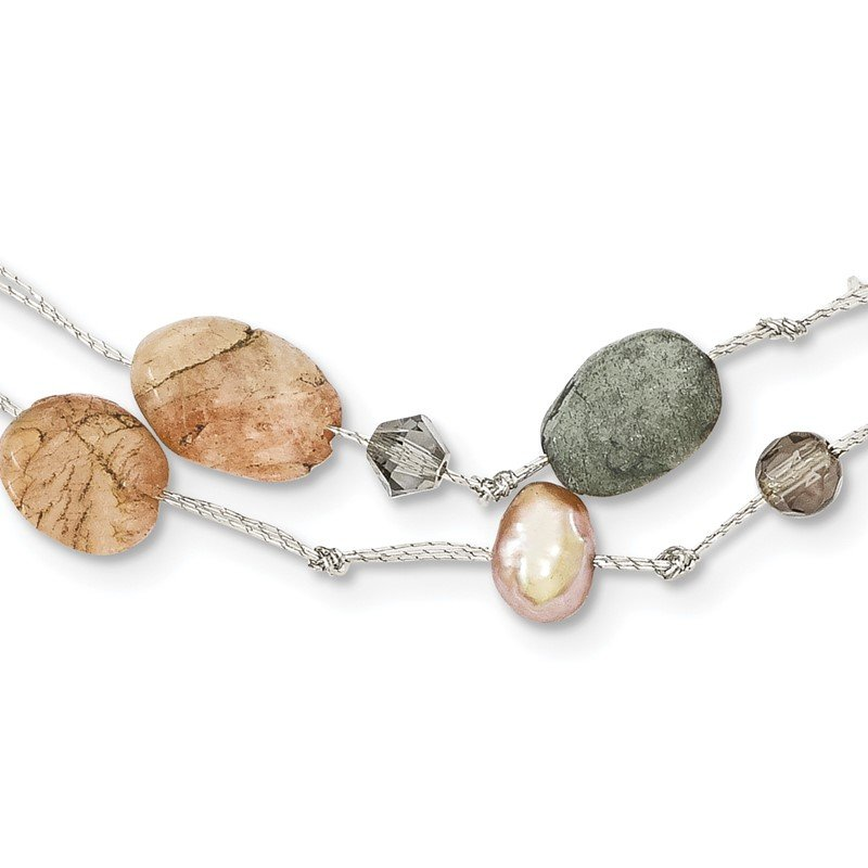 Quality Gold Labradorite/Red Moonstone/FW Cultured Pearl/Crystal Necklace