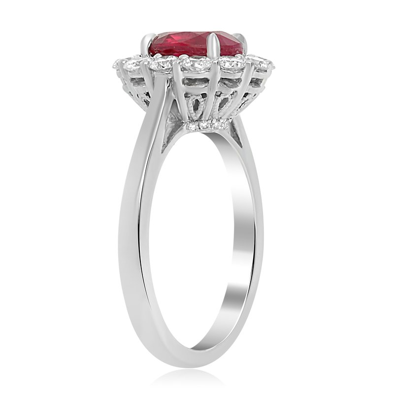 Roman & Jules Ruby & Diamond Shared Prong Halo Ring