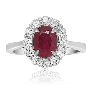 Ruby & Diamond Shared Prong Halo Ring