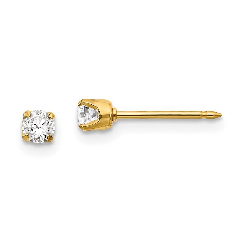 Quality Gold Inverness 14k 3mm CZ Long Post Earrings