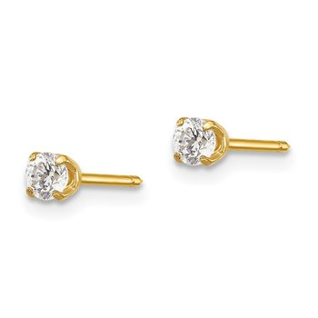 Inverness 14k 3mm CZ Long Post Earrings