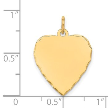 14k Etched .013 Gauge Engravable Heart Disc Charm