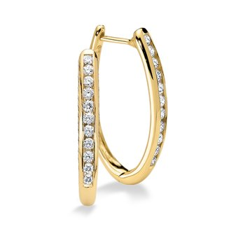 Channel set Diamond Oval Hoops in 14k Yellow Gold (1/4 ct. tw.) HI/SI2-SI3