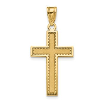 14K Large Satin Cross Pendant