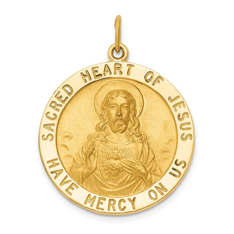 Quality Gold 14k Sacred Heart of Jesus Medal Pendant