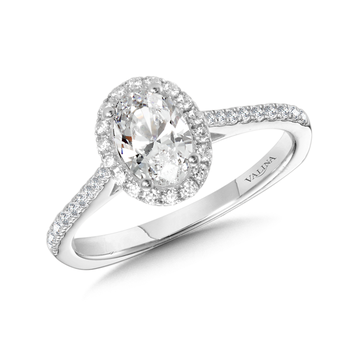 Diamond Halo Engagement Ring Mounting in 14K White Gold (0.23 ct. tw.)