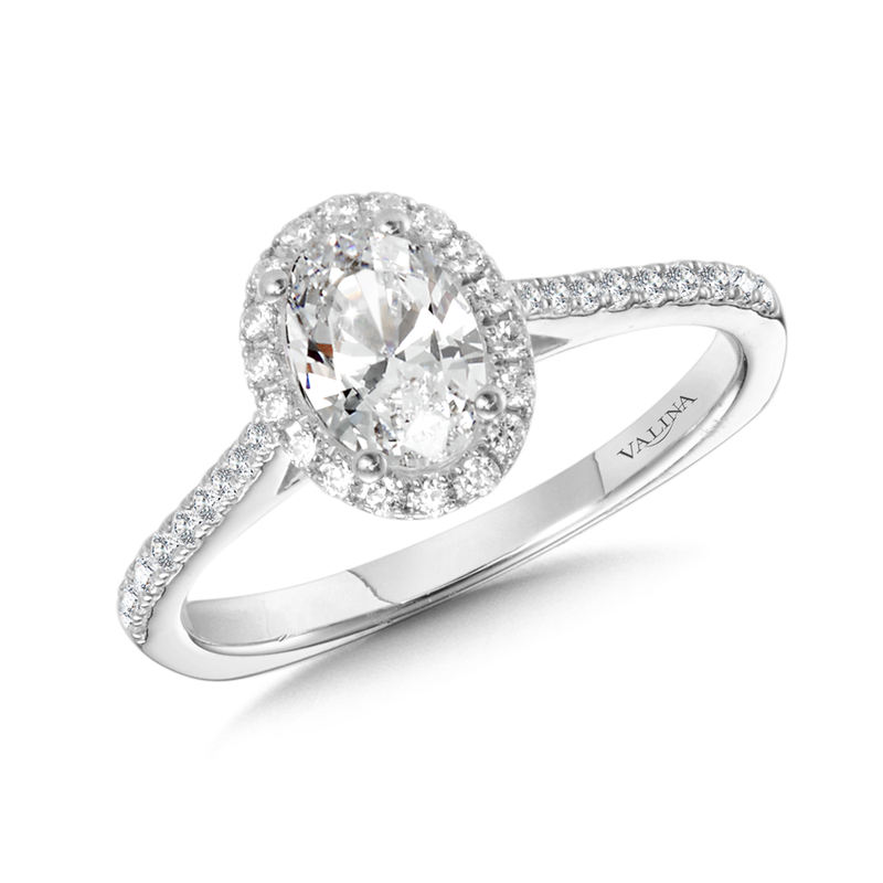 Valina Diamond Halo Engagement Ring Mounting in 14K White Gold (0.23 ct. tw.)