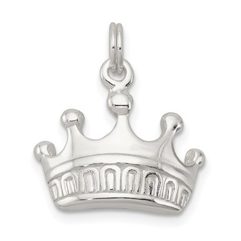 Sterling Silver Polished Crown Charm