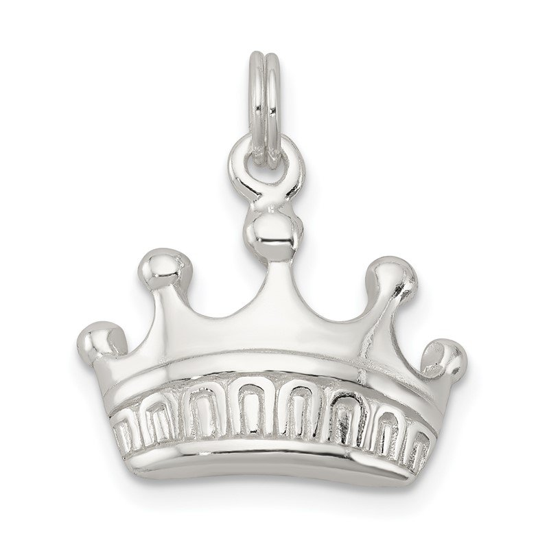 Quality Gold Sterling Silver Polished Crown Charm
