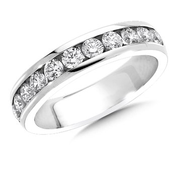 Channel set Round Diamond Wedding Band 14k White Gold (1/4 ct. tw.)