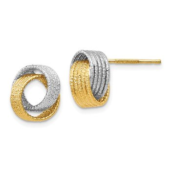 Leslie's 14k Two-tone Polished Textured Love Knot Earrings