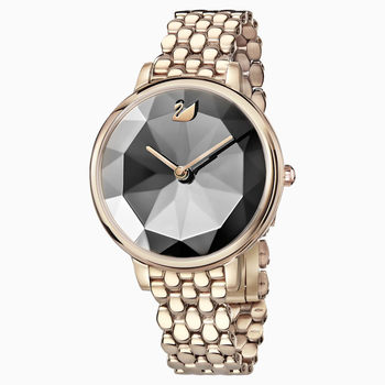 Crystal Lake Watch, Metal bracelet, Dark Gray, Champagne-gold tone PVD