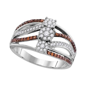 10kt White Gold Womens Round Brown Color Enhanced Diamond Triple Cluster Band Ring 1/2 Cttw