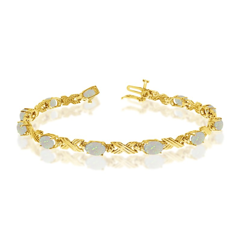 Color Merchants 14K Yellow Gold Oval Opal and Diamond Bracelet