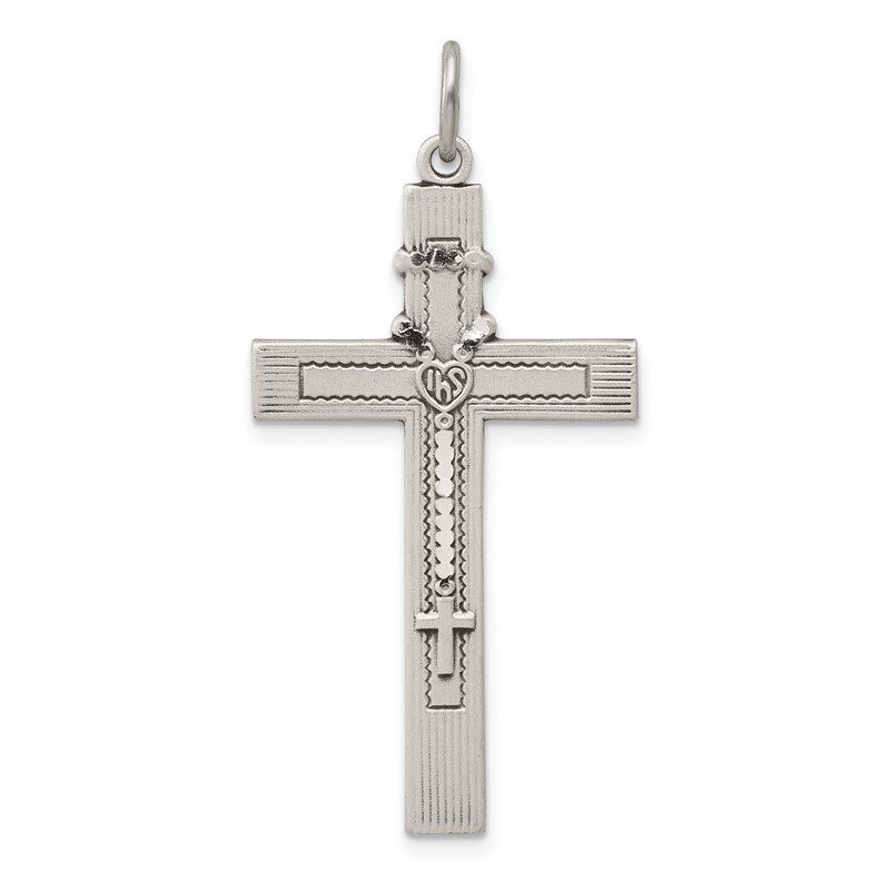 Quality Gold Sterling Silver Antiqued Rosary Cross Pendant
