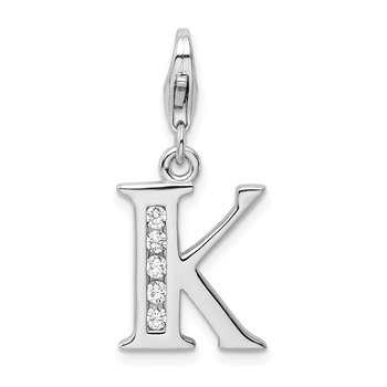 Sterling Silver Amore La Vita Rhodium-plated CZ Letter K Initial Charm