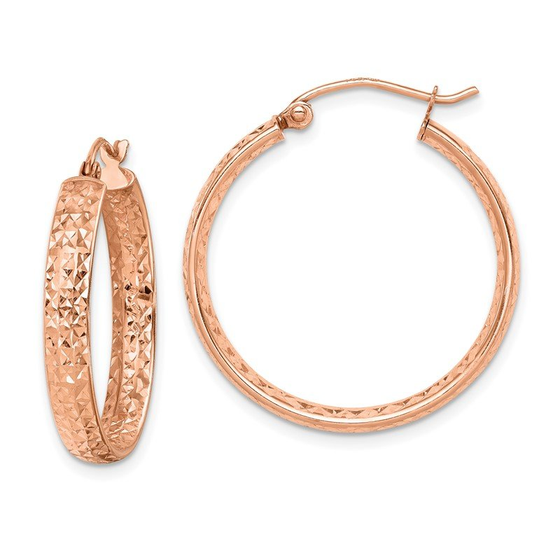 Quality Gold 14k Rose Gold Diamond-cut In/Out Hoop Earrings