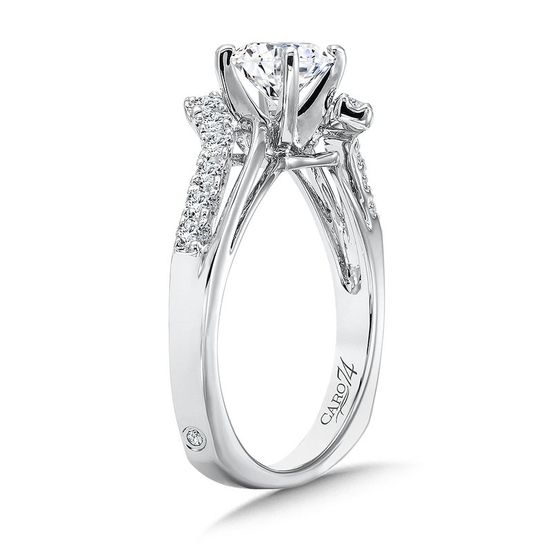 Caro74 Modernistic Collection Diamond Criss Cross Engagement Ring in 14K White Gold with Platinum Head (3/4ct. tw.)
