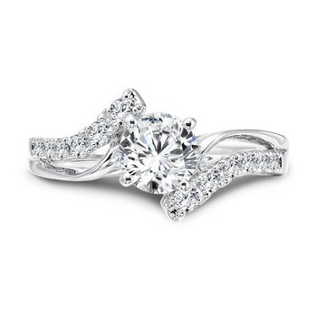Modernistic Collection Diamond Criss Cross Engagement Ring in 14K White Gold with Platinum Head (3/4ct. tw.)