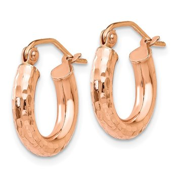 14k Rose Gold Polished Lightweight Small D/C Tube Hoop Earrings