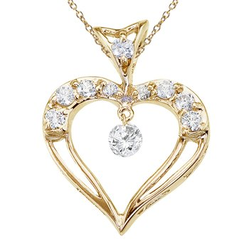 14K Yellow Gold Dashing Diamond Heart Pendant
