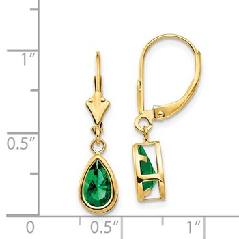 14k 8x5mm Pear Mount St. Helens Leverback Earrings