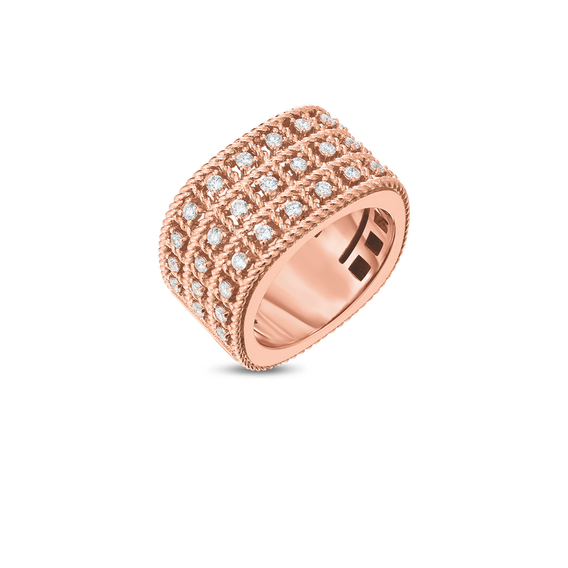 Roberto Coin  #27668 Of 18Kt Gold 3 Row Ring With Diamonds
