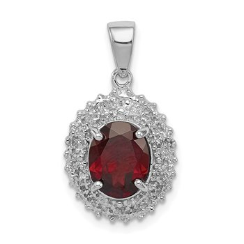 Sterling Silver Rhodium Garnet & Diamond Pendant