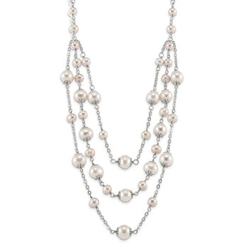Sterling Silver RH6-10mm White/Pink FWC Pearl Layer 2in ext. Necklace