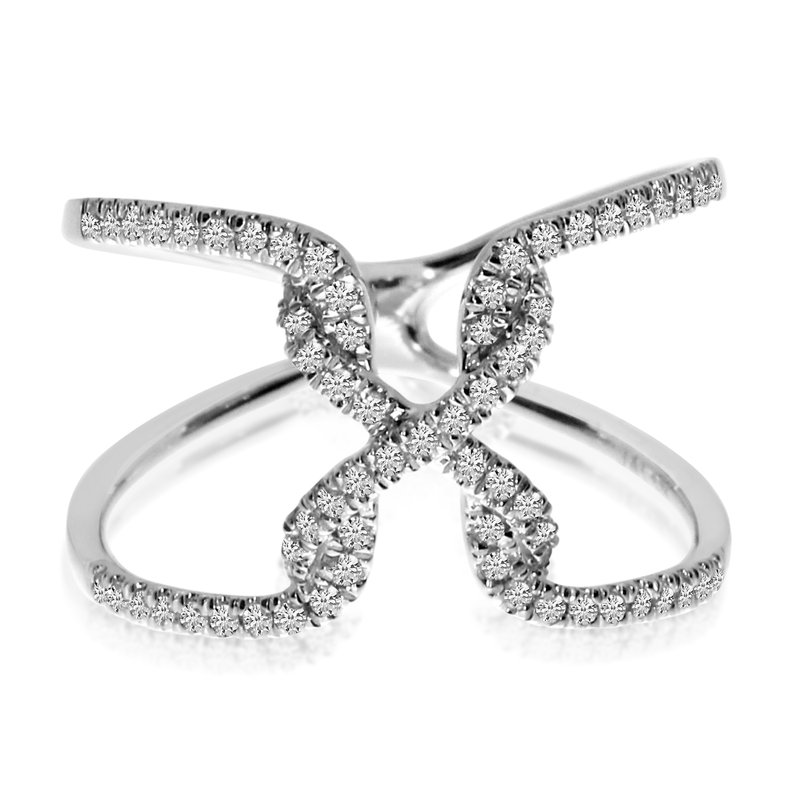 "Color Merchants 14K White Gold ""X"" Free Flow Diamond Ring"