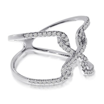 "14K White Gold ""X"" Free Flow Diamond Ring"