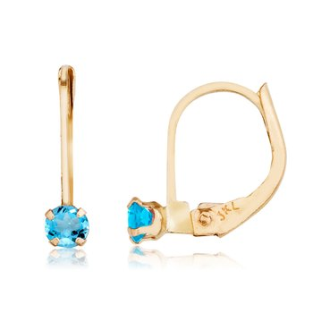 14k Petite Blue Topaz Leverback Earrings