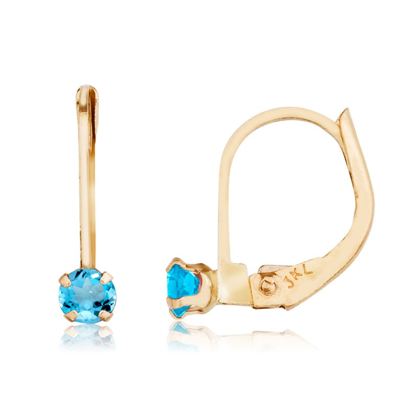 Color Merchants 14k Petite Blue Topaz Leverback Earrings