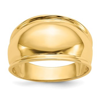 14K Ridge-edged Dome Ring