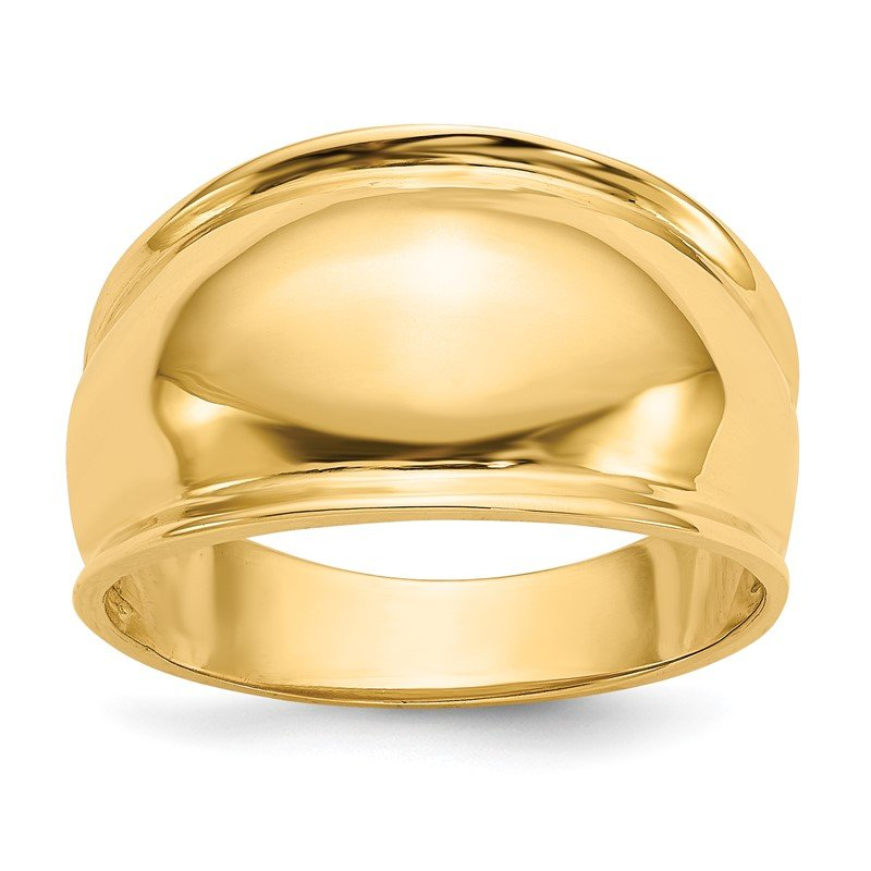 Quality Gold 14K Ridge-edged Dome Ring