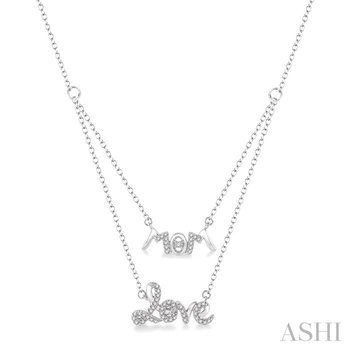 mom & love layered diamond pendant
