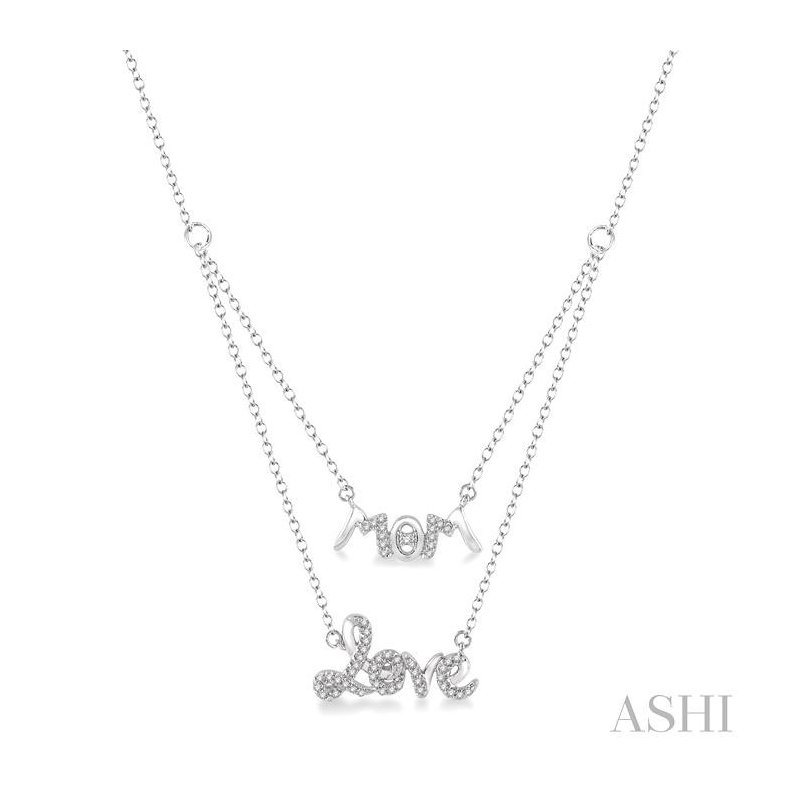 ASHI mom & love layered diamond pendant