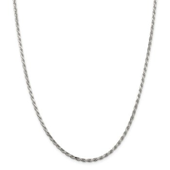 Sterling Silver Rhodium-plated 2.5mm Diamond-cut Rope Chain