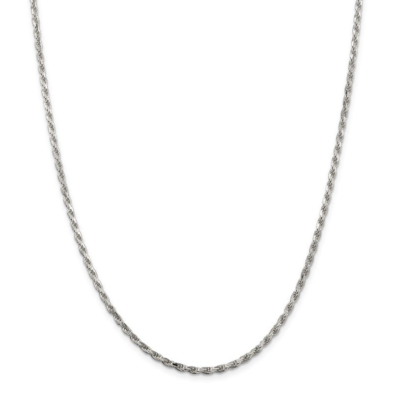 Quality Gold Sterling Silver Rhodium-plated 2.5mm Diamond-cut Rope Chain