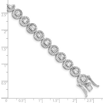 Sterling Silver 7.5 inch Rhodium-plated CZ Tennis Bracelet
