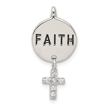 Sterling Silver CZ Cross Faith Slide