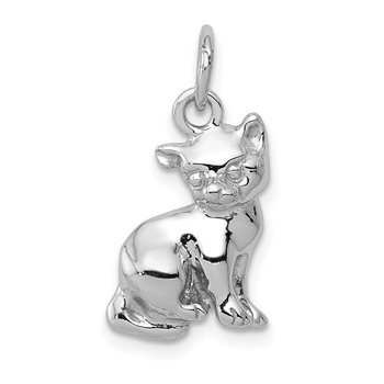 14k White Gold Cat Charm