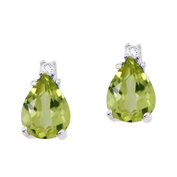 14k White Gold Pear Shaped Peridot and Diamond Earrings